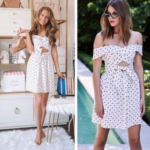 Wayf polka dot cutout mini dress NWT